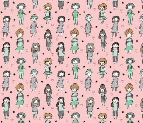 girls // people little girls fabric faces pink fabric by andrea_lauren on Spoonflower - custom fabric