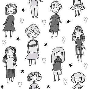 girls // people little girls fabric faces black and white