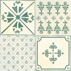 Spanish Tiles - green - by Mount Vic and Me