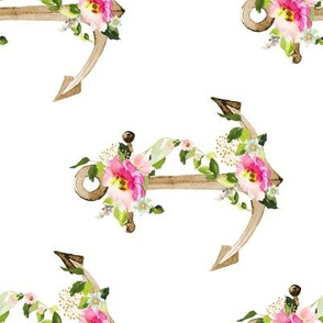 """8"""" Pink and Green Floral Anchor / White / 90 Degrees"""