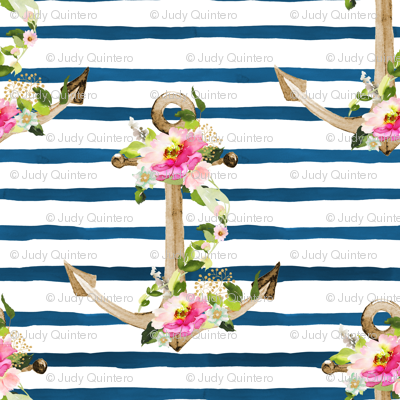 """8"""" Pink and Green Floral Anchor / Blue Watercolor Stripes"""