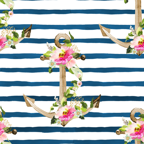 """8"""" Pink and Green Floral Anchor / Blue Watercolor Stripes fabric by shopcabin on Spoonflower - custom fabric"""
