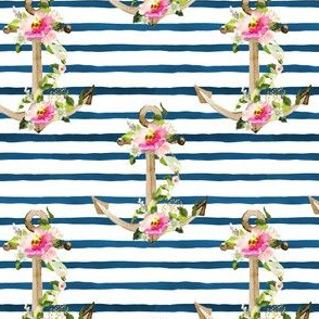 """4"""" Pink and Green Floral Anchor / Blue Watercolor Stripes"""