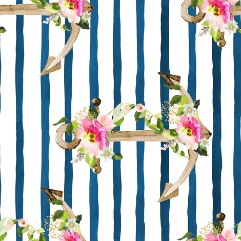 """8"""" Pink and Green Floral Anchor / Blue Watercolor Stripes / 90 degrees fabric by shopcabin on Spoonflower - custom fabric"""