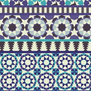 Alhambra Tessellations - Turquoise, Violet and grey on white