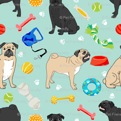 pugs and toys fabric - black and tan pugs with dog toys - mint
