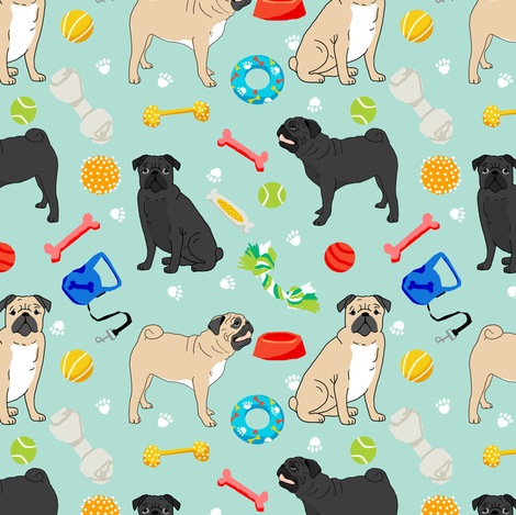 pugs and toys fabric - black and tan pugs with dog toys - mint fabric by petfriendly on Spoonflower - custom fabric