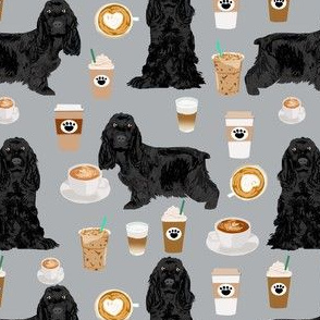 cocker spaniel fabric with coffees - black cocker spaniel dog with coffee - grey
