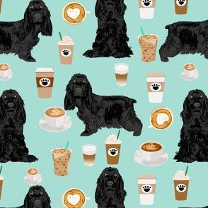 cocker spaniel fabric with coffees - black cocker spaniel dog with coffee - mint