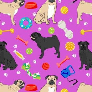 pugs and toys fabric - black and tan pugs with dog toys - magenta