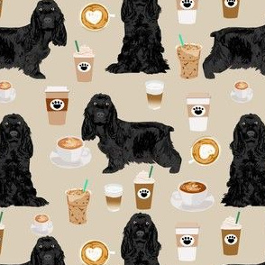cocker spaniel fabric with coffees - black cocker spaniel dog with coffee - sand
