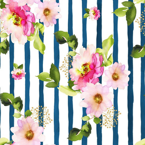 "21"" Pink Florals / Pink Hair Mermaid Mix & Match / 90 degrees"