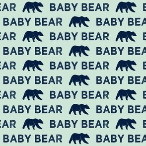 (small scale) baby bear - navy on mint