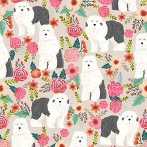 old english sheepdog florals fabric - dogs with flowers design - tan