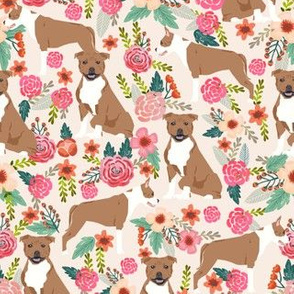 staffordshire terrier florals fabric - tan dogs - cream
