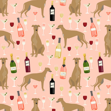 greyhound wine fabric - tan/fawn greyhound with wine - blush fabric by petfriendly on Spoonflower - custom fabric