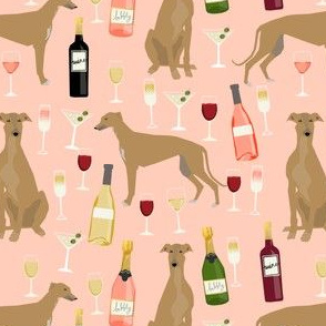 greyhound wine fabric - tan/fawn greyhound with wine - blush