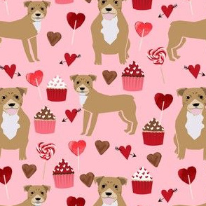 pitbull valentines fabric - fawn/tan pitty with valentines love design - pink