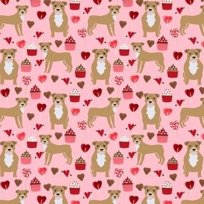 pitbull valentines fabric - fawn/tan pitty with valentines love design - pink (small)