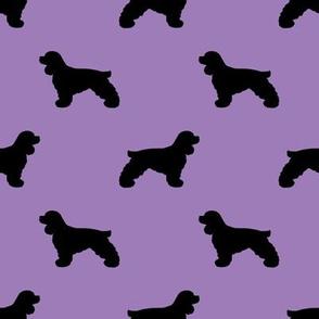 cocker spaniel silhouette fabric - dogs design  - lilac