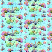 Watercolour Rocks and Plants