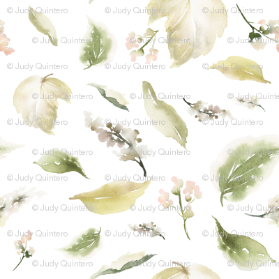 "18"" Pale leaves / Mix & Match Pale Blush Florals"