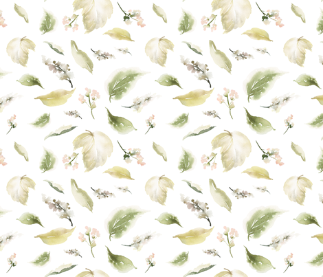 "18"" Pale leaves / Mix & Match Pale Blush Florals fabric by shopcabin on Spoonflower - custom fabric"