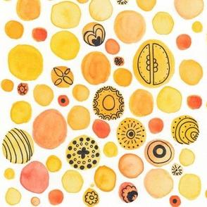 Abstract Orange Watercolor Geometric Illustration