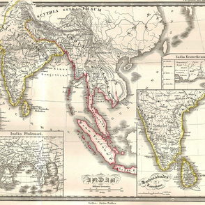 """1855 Map of India & SE Asia (21""""W)"""