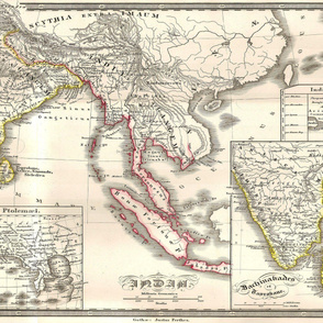 """1855 Map of India & SE Asia (54""""W)"""