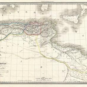 """1842 Map of Barbary Coast (54""""W)"""