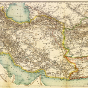 """1891 Map of Persia / Afghanistan / Balochistan (27""""W)"""