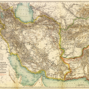 """1891 Map of Persia / Afghanistan / Balochistan (21""""W)"""