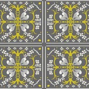 Dogwood Spanish Tile - Gray and Mustard Yellow - Medium Scale