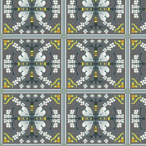 Dogwood Spanish Tile - Gray Blue and Yellow - Medium Scale