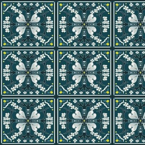 Dogwood Spanish Tiles - Dark Teal Blue and White - Medium Scale