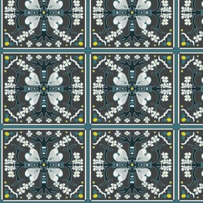Dogwood Spanish Tiles - Dark Gray, Teal Blue and White - Medium Scale