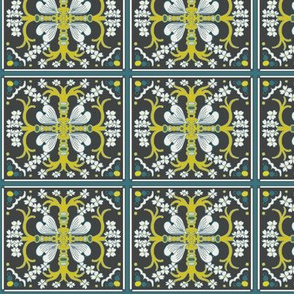 Dogwood Spanish Tiles - Dark Gray, Dark Teal Blue and Mustard Yellow - Medium Scale