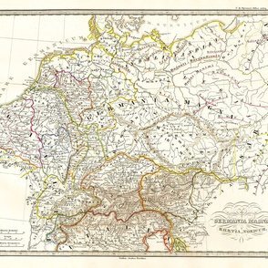 """1855 Map of Germany (21""""W)"""
