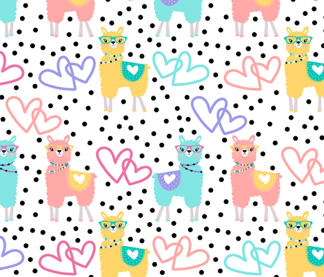 Nerdy Llama Polka Dots fabric by heatherhightdesign on Spoonflower - custom fabric