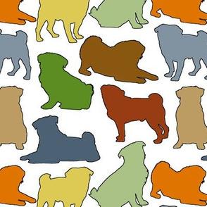 Earthtone Pug Silhouettes