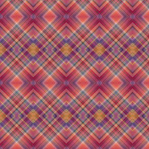 MUSIC DESERT DIAMOND PLAID BURGUNDY PINK