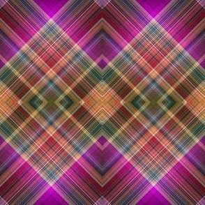 MUSIC DESERT DIAMOND diagonal PLAID FUSHIA SUNRISE