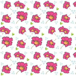Spring blooms MED7- hotty pink tangerine sea