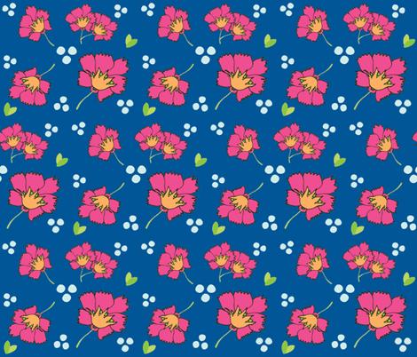 Spring blooms MED7- hotty pink  ocean fabric by drapestudio on Spoonflower - custom fabric