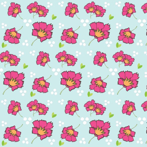 Spring blooms MED7- hotty pink seafoam-white