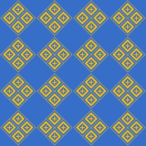 Diamond Crosses Gold on Blue fabric by st_tabithas_workshop on Spoonflower - custom fabric