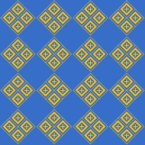 Diamond Crosses Gold on Blue