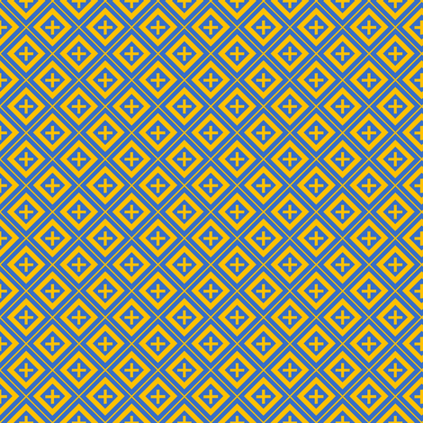 Diamond Crosses Gold on Blue-ed fabric by st_tabithas_workshop on Spoonflower - custom fabric