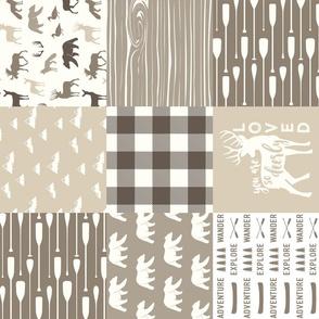 Woodland Patchwork - Timberland (warm neutrals) 90